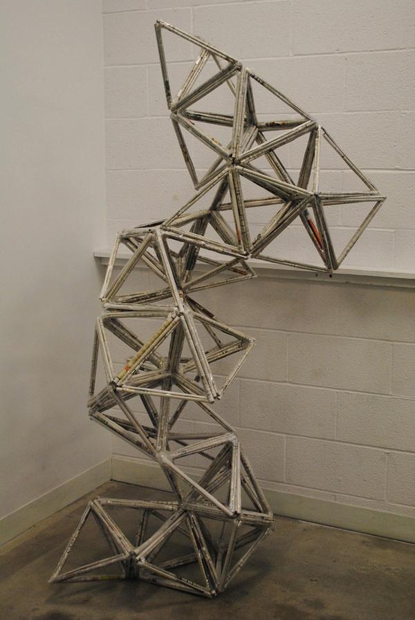 newspaper roll sculpture