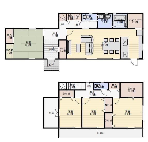 40坪4ldk独立した8畳の和室の間取り 新築間取り 間取り 二世帯間取り 家のデザイン