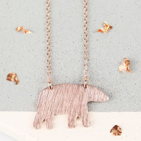 Brushed Rose Gold Bear Necklace at lisaangel.co.uk
