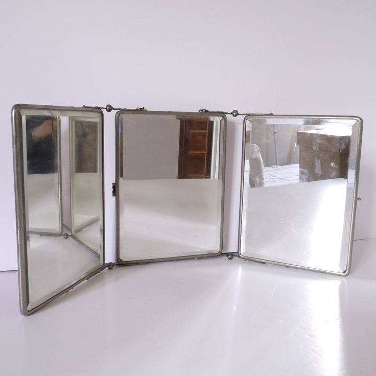 French Barber Three Panel Folding Mirror Triptych Tri Fold Vintage Bathroom By ChicFrangine On