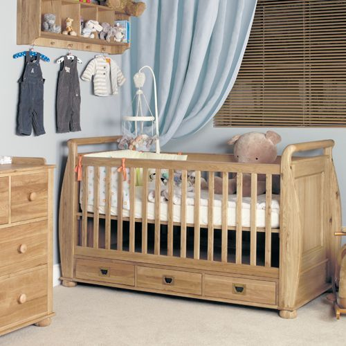Amelie Oak Cot-Bed with Three Drawers #home #furniture #oak #wood #interior #decor #design #bedroom #cot #bed #drawers #storage
