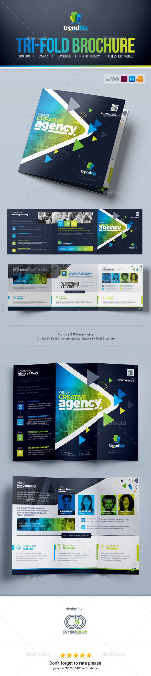 Tri Fold Brochure Template / Square Tri-Fold Brochure Design - PSD, Vector EPS, InDesign INDD, AI Illustrator