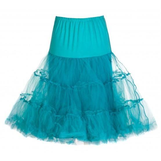 Spodnička k šatům Lindy Bop Turquoise krásná bohatá tylová spodnička určená k šatům vintage/retro, ale i k jiným, dokonale pozvedne výraz šatů, bohatý objem, nádherná barva, délka cca 60 cm
