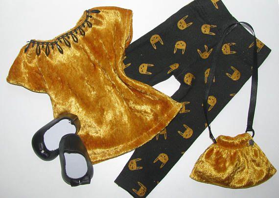 Euro 14,90 - 3 pezzi. Leggins nero/oro maglia velluto giallo oro borsetta //per AG Dolls