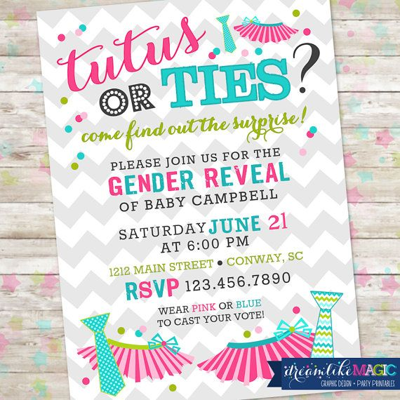 Gender Reveal Party Invitation Tutus or Ties by DreamlikeMagic, $13.00