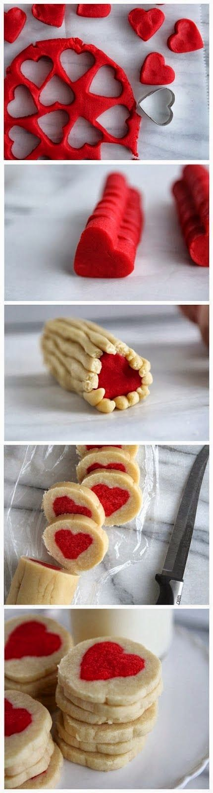 all-food-drink: Slice n' Bake Valentine Heart Cookies. I'll have to try this but I'll use Earth Balance spread instead of the butter. What a cute idea!