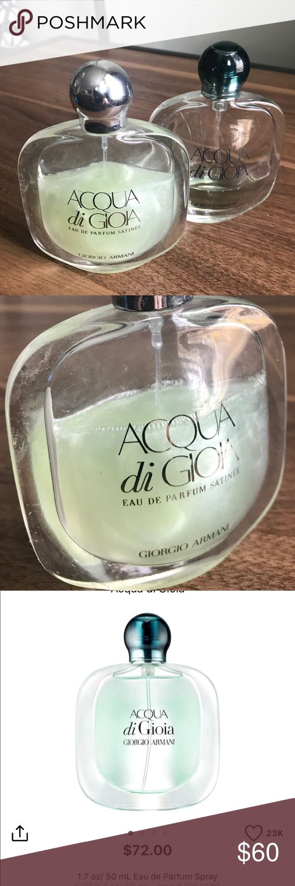 giorgio armani acqua di gioia limit edition bundle giorgio armani acqua di gioia limited edition shimmer summer perfume 3/4 full and original perfume bundle making one full bottle. The shimmer perfume give a very light luminous look on your skin. The don't make this anymore. 100% authentic. Giorgio Armani Other
