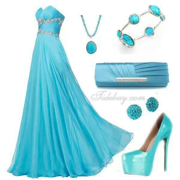 Aqua blue dress!!! Bebe'!!! Love the matching accessories!!!