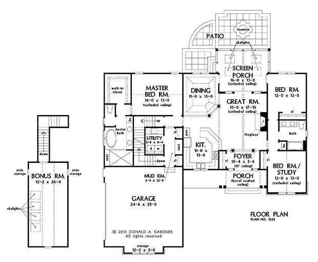 Dw plan nice porch basement stair option of the Ranch basement floor plans