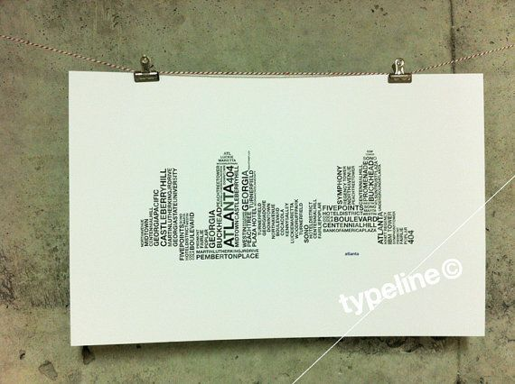 Atlanta Skyline - Georgia City Skyline - Typography - Print - 11x17