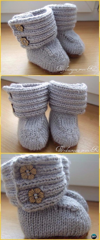 Baby Knitting Patterns Knit Ribbing Upper Wrap Around Baby Booties Free Pattern - K...