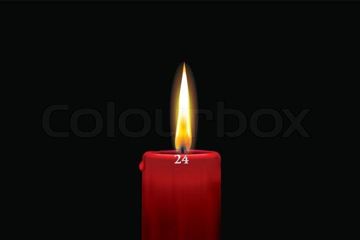 Rødt kalenderlys - 24. december | Vektor | Colourbox on Colourbox