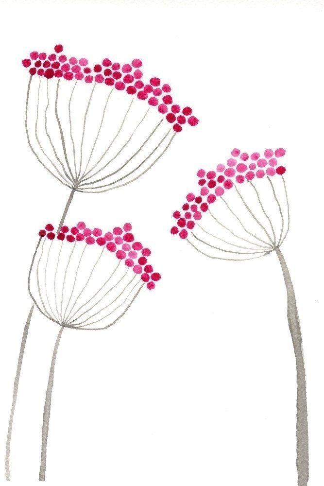 Watercolor Painting: Watercolor Flower Painting — Art Print — Pink Allium Flowers — 5×7