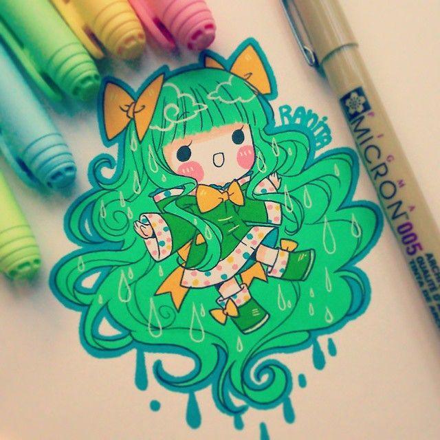 """""""Painted with pencil bic"""" Cada vez me demoro mas en subir dibujos ;w; Ella es…"""
