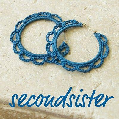 cute crochet earrings or bracelet. so fast.