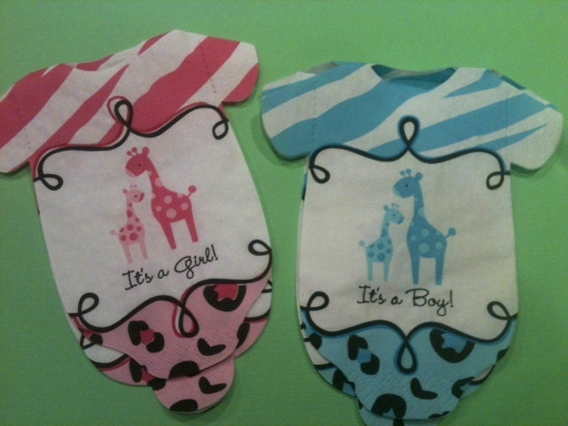 Pack Of 30 Baby Shower Onesie Napkins Or Decoration Safari Theme Blue Or  Pink Giraffes.