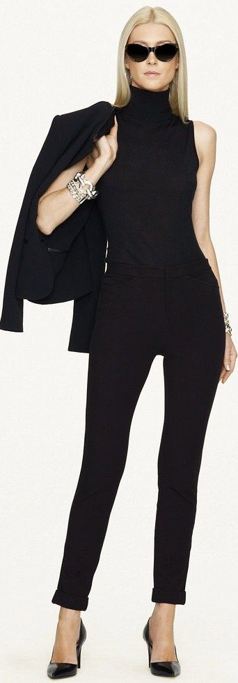 Fall / winter - business casual - work outfit - office wear - all black - black pants + black sleeveless turtleneck top + black blazer - Ralph Lauren ● 2013