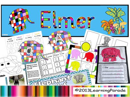 Our Elmer Story Unit based on the book by David McKee has 81 pages of printables: lots of early years literacy CCSS activities and a color bingo game.