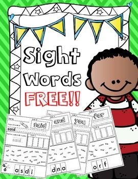 FREE!! Dolce Pre-Primer Sight Words for Kindergarten and First Grade!!