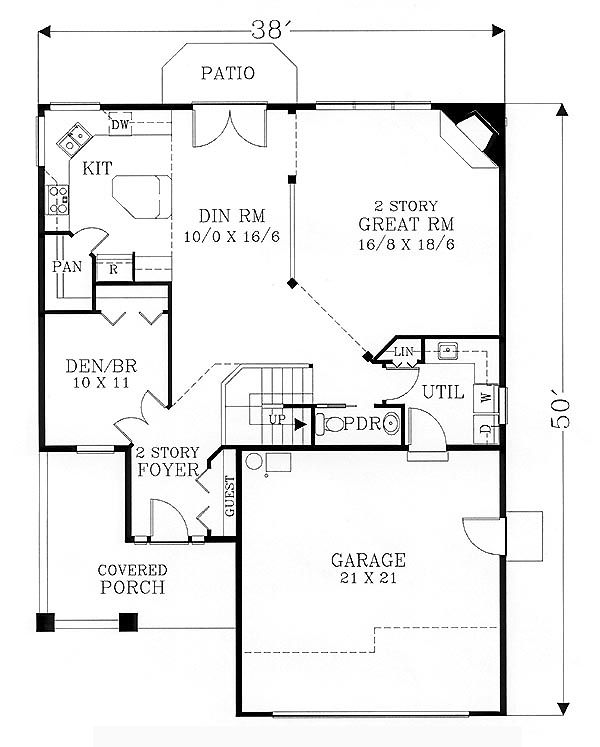 First floor plan of bungalow craftsman house plan 46118 for Open concept craftsman house plans