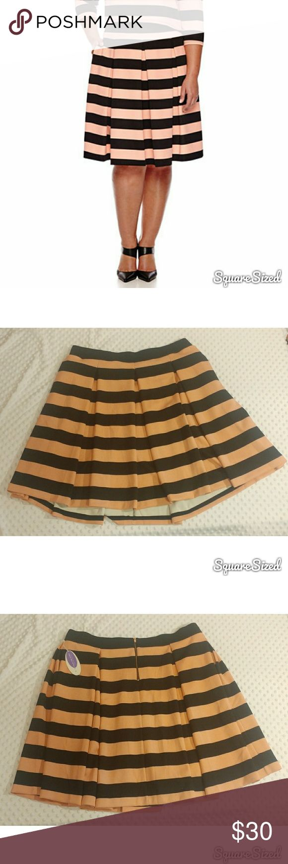 Ashley Tipton skirt Ashley Tipton for JCP pink/black striped skirt (pic 1.is accurate color rep). Size 2x.   New with tags  Waist 42in with lots of stretch Length 25in Skirts