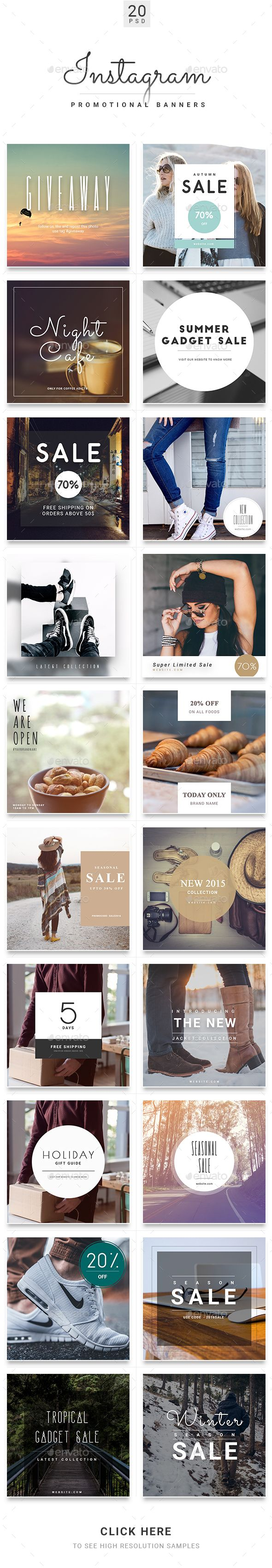 Instagram Promotional Banner Templates - Banners & Ads Web Elements