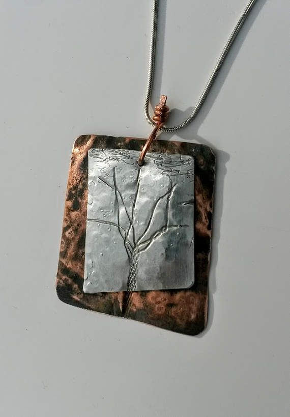 Large mixed metal hammered copper textured aluminum tree pendant