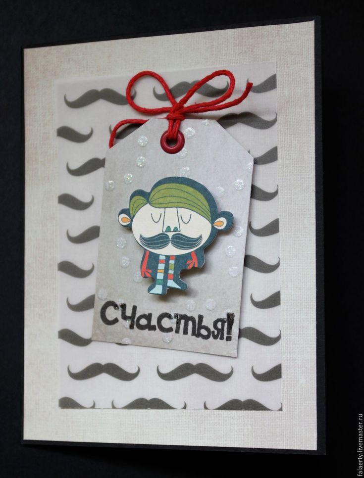 Купить Мужская открытка с усами - мужская открытка, открытка для мужчины, Открытка ручной работы