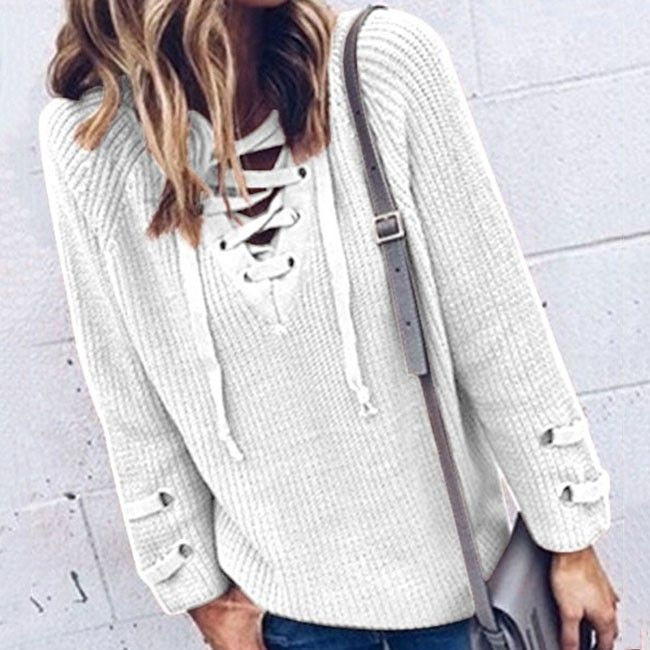 How nice Lace-up V-neck Leisurely Fashion Women's Sweater ! I like it ! I want to get it ASAP!
