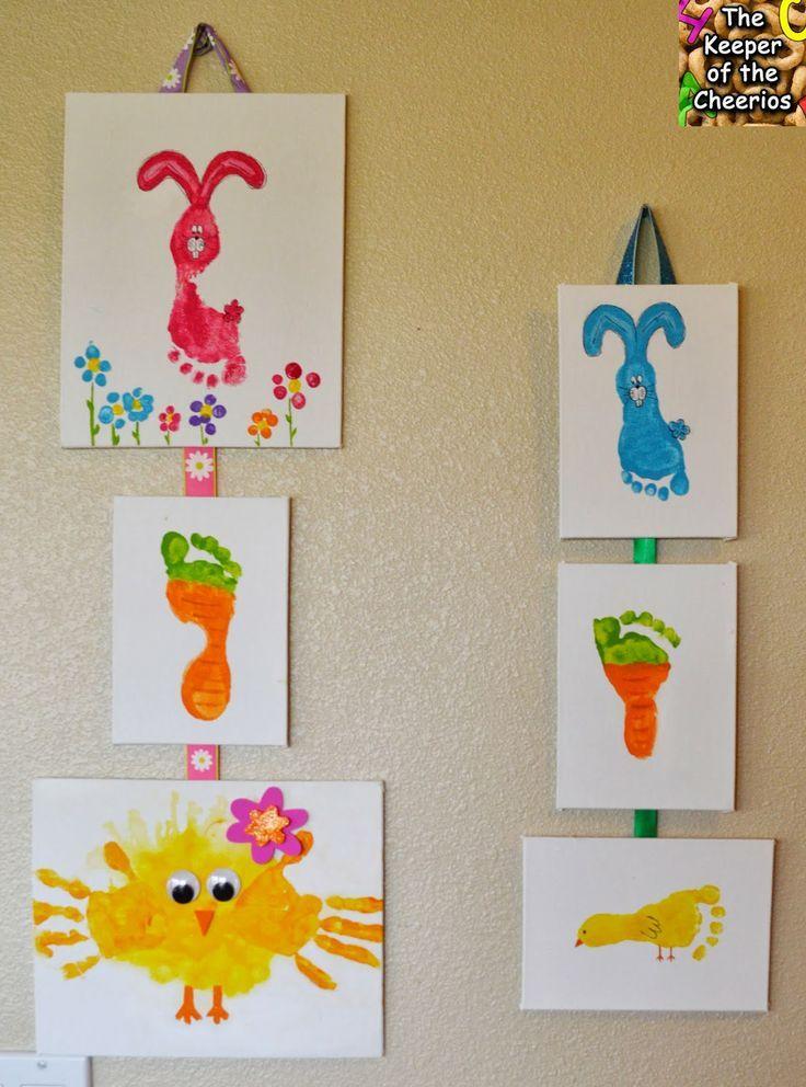 Manualidades día de pascua. Pintar con manos y pies dibujos originales. Actividad semana santa con niños