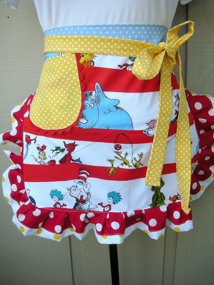 Dr. Suess Apron - Womens Half Apron - The Cat in the Hat: