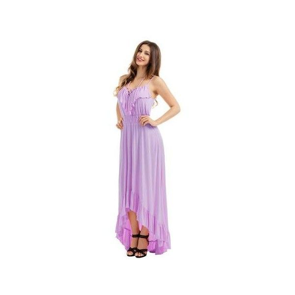Lilac Lace Up V Neck Ruffle Trim Hi-low Maxi Dress via Polyvore featuring dresses, gowns, purple maxi dress, sexy evening dresses, purple gown, summer dresses and sexy evening gowns