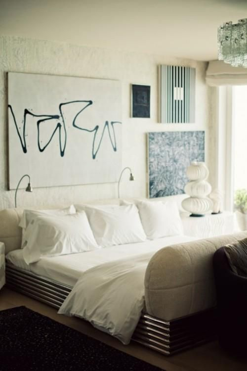 misaligned abstract art above the bed / tumblr