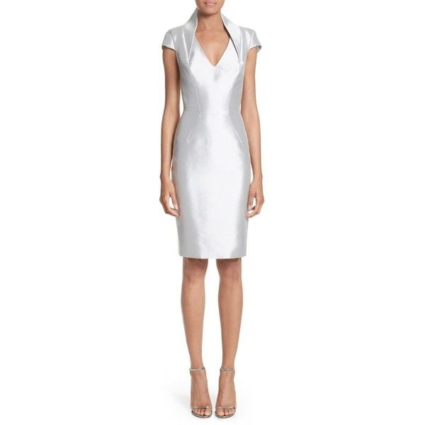 Women's Rubin Singer Cap Sleeve Sheath Dress ($1,990) ❤ liked on Polyvore featuring dresses, silver, short cap sleeve dress, white cocktail dress, rubin singer dresses, structured dress and cap sleeve cocktail dress