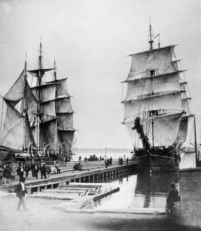 """"""" Whaling Ships. """" Sitting at the dock with the sails set."""