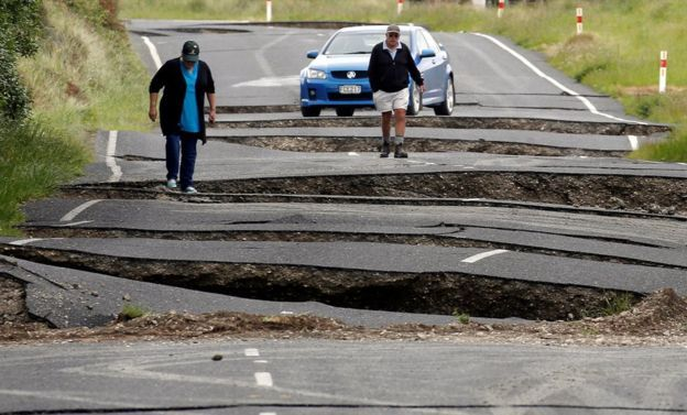 """New Zealand Earthquake. This Link contains some photos of the damage suffered. What is so awful about this is that with all the rebuilding work and associated costs we never know when the next one is going to hit. The """"Megaquake"""" that will hit the South Island one day is way overdue and it could strike at any time. Check out the photo of the twisted railway lines! jp"""