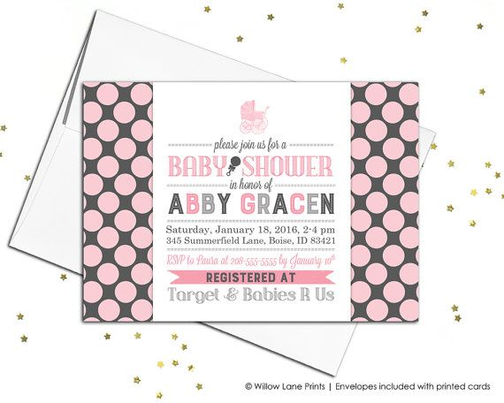 baby shower invitation for girls in pink and by willow lane prints