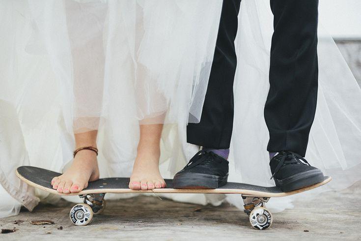 Skateboard and Travel Themed Cornish Wedding: Nicole Jon