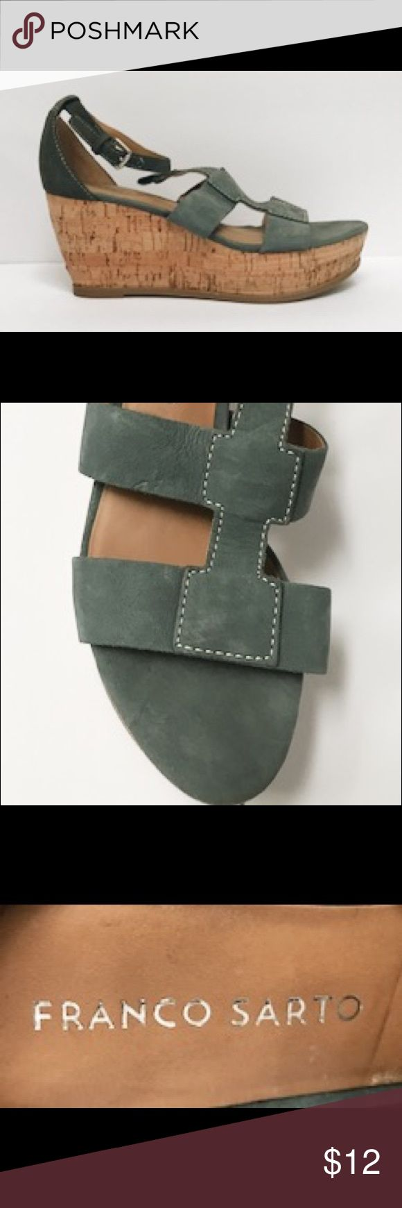 Franco Sarto Grey/Teal Wedge Sandals 6.5 Franco Sarto Grey/Teal Wedge Sandals 6.5. Soft leather upper. Good / gently used condition (see pics)! Franco Sarto Shoes Wedges