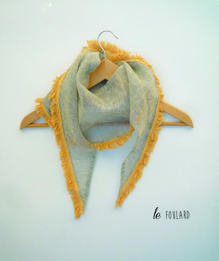 écharpe foulard chèche beige franges jaunes : Echarpe, foulard, cravate par lefil