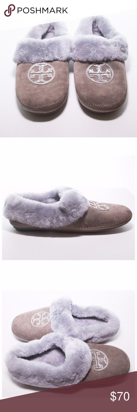 """Tory Burch Coley Metallic-Logo Shearling Slipper Very comfortable slippers. Suede upper with metallic leather signature double-""""T"""" logo applique. Dyed sheep shearling lining and cuff.  Pre-loved and in very good condition.  Show some discoloration from normal wear.  Size 10. Tory Burch Shoes"""