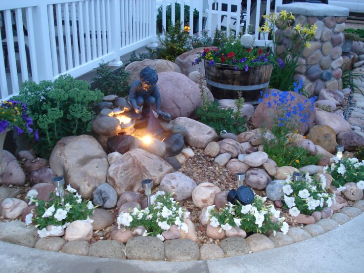 Rock garden with small fountain hypertufa rocks made for Small rock garden designs