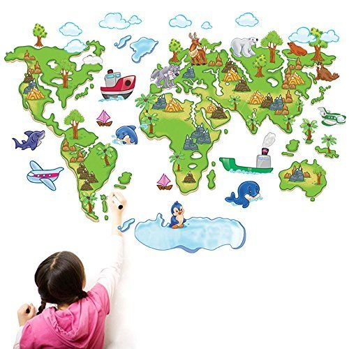 ufengke® Cartoon Colorful World Map Lovely Animals Cute Dolphins Penguin Wall Decals, Children's Room Nursery Removable Wall Stickers Murals, http://www.amazon.ca/dp/B00VNODDVK/ref=cm_sw_r_pi_awdl_TJYGvb0HHVKN0