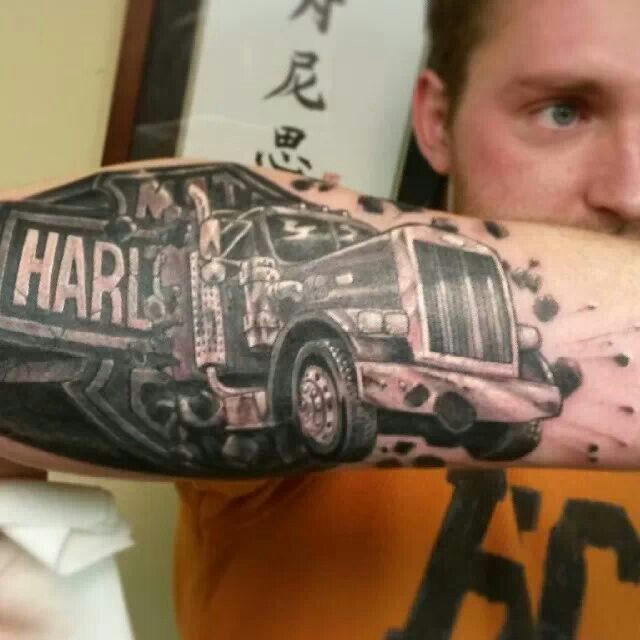 Black and grey harley davidson truck tattoo
