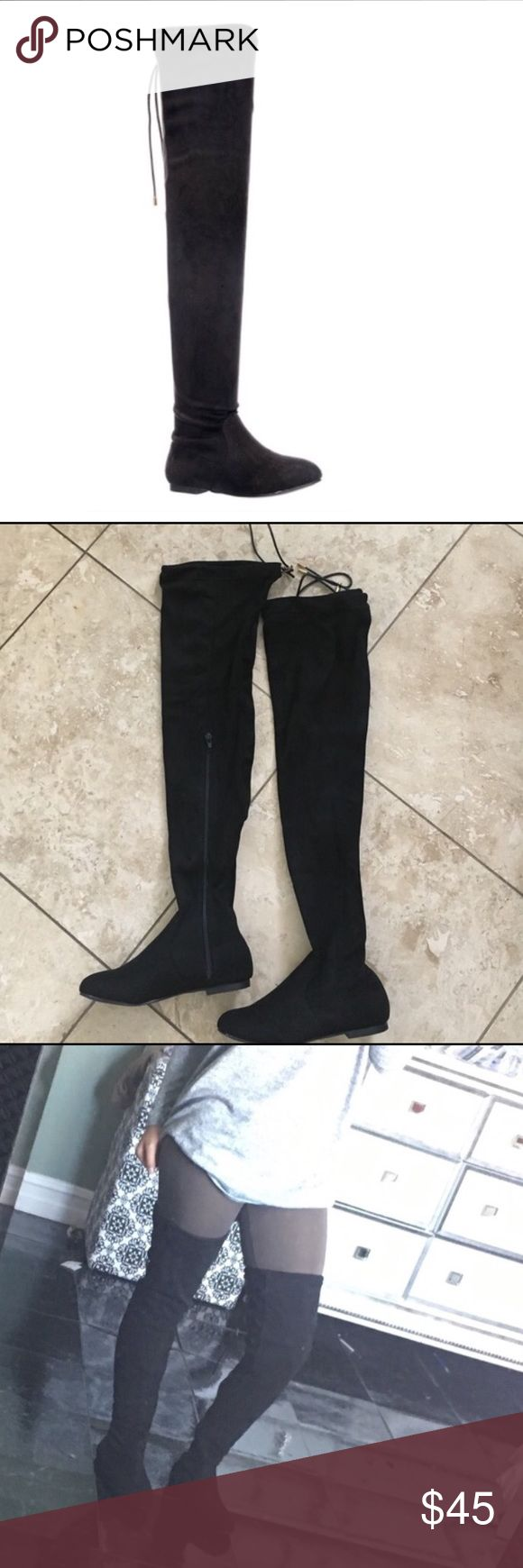Black thigh high flat boots Perfect for the winter black thigh high suede flat boots. brand new in the box. The back of the thigh has an adjustable lace to loosen or tighten the fit. Partial zipper on the size. These run true to size and are lightweight. Will fit loose on slimmer legs   ❗️❗️PRICE IS FIRM❗️❗️ Shoes Over the Knee Boots