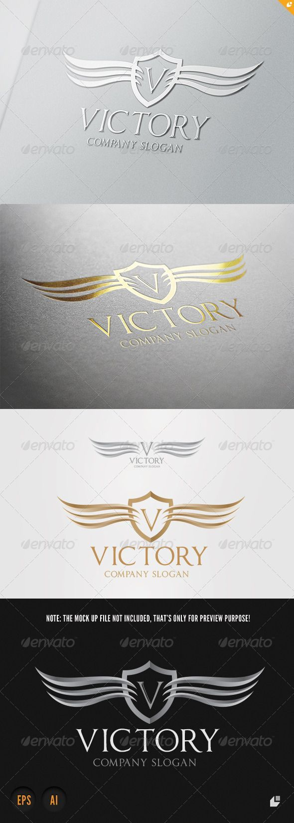 Victory Logo  #GraphicRiver         This logo design for all creative business. Consulting, Excellent l#wing