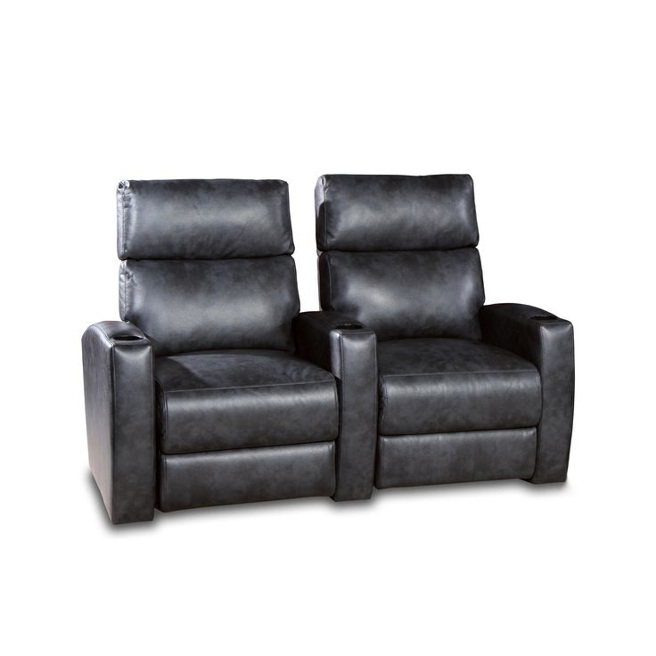 Galaxy Home Theater Seating Charcoal Gel 2-Seat Power Recliner Sofa