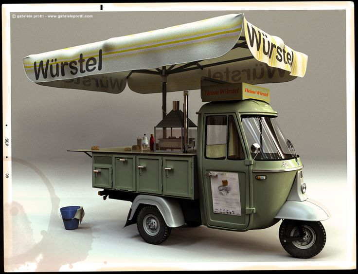 wurstel. Three wheeled food cart. How much an awning/umbrella does…