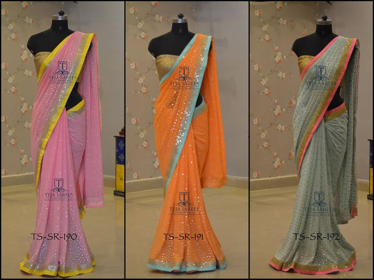 TS-SR-190.191 192 Available  Fabric :- Georgette  For queries/ price details  Whats App us on 8341382382  Reach us on 8790382382 or please mail us at tejasarees@yahoo.com or Inbox us www.tejasarees.com Stay Amazed !! Team Teja !!  tejasarees  LikeNeverBefore  Newdesigns  create  sarees 14 May 2016