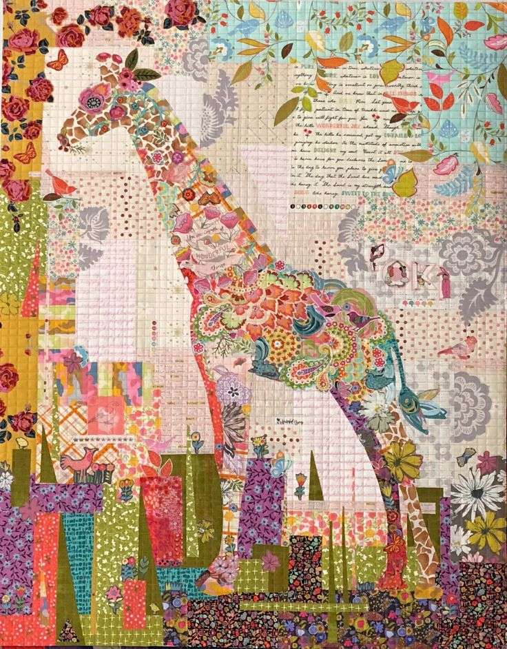 Poki Mini Giraffe Collage Quilt Kit By Laura Heine